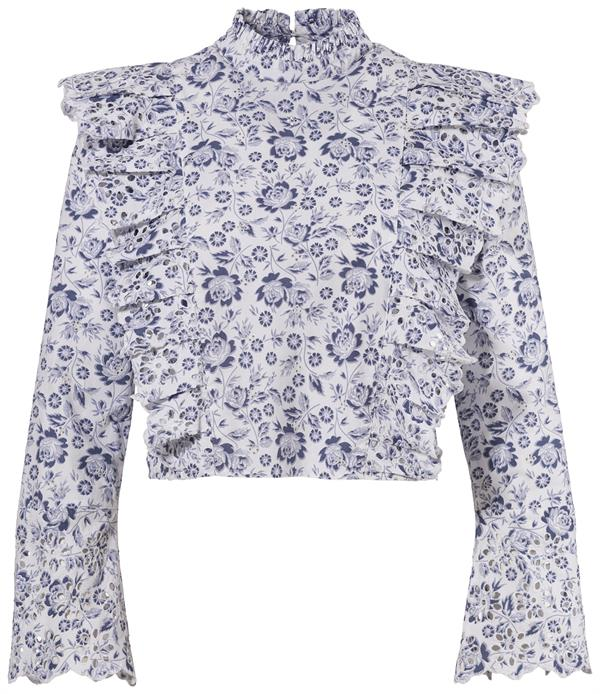 C&A_Clockhouse_Turtleneck-Top im Folklore-Stil mit Volant_Weiß:Blau